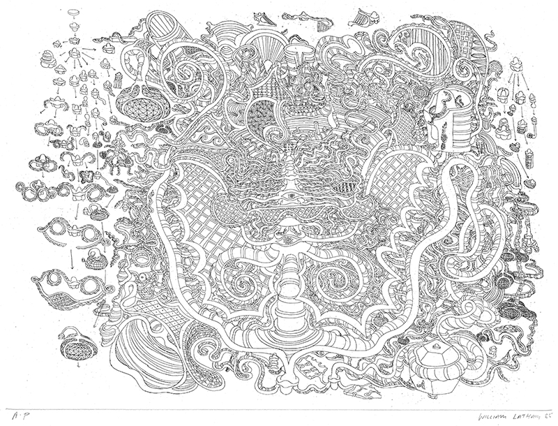 Oriental Etching FormSynth, print, William Latham, 1985
